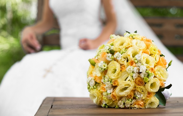 Picture flowers, roses, bouquet, yellow, the bride