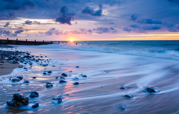 Picture sea, the sky, the sun, clouds, sunset, clouds, stones, shore, England, the evening, horizon, surf, …