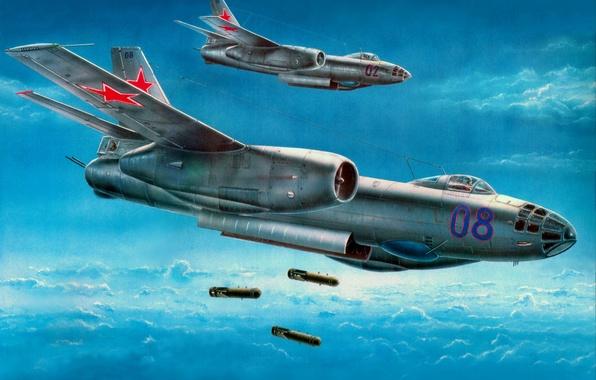 Picture the sky, aviation, the plane, attack, star, bomb, bomber, BBC, Russian, Il-28