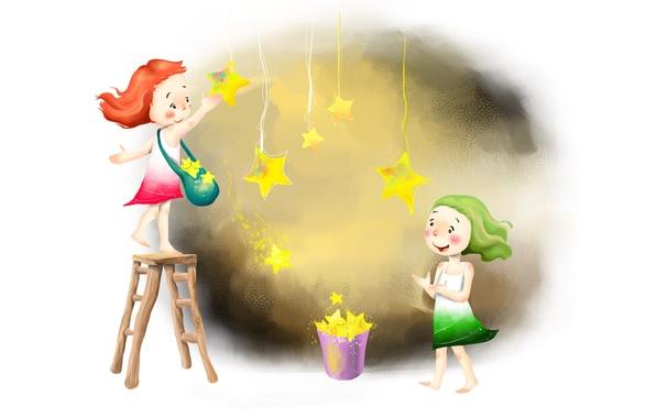 Picture light, joy, girls, figure, positive, stars, bag