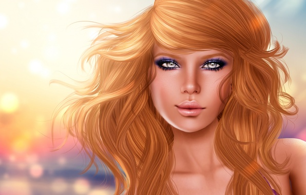 Picture look, girl, face, rendering, background, hair