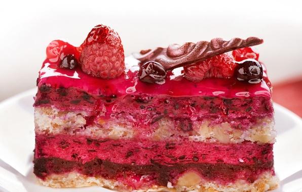 Picture berries, raspberry, food, cake, nuts, dessert, cakes, sweet, glaze