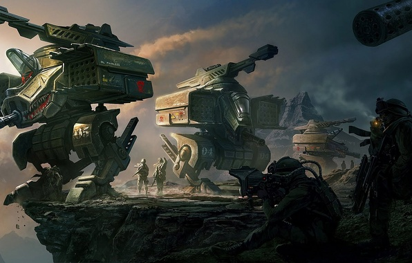 Picture mountains, weapons, rocks, mechanism, robot, art, soldiers, abyss, Clinton Felker
