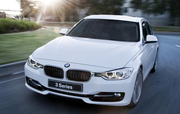 Picture road, white, the sun, bmw, BMW, sedan, the front, sedan, 328i, sport line, sport line