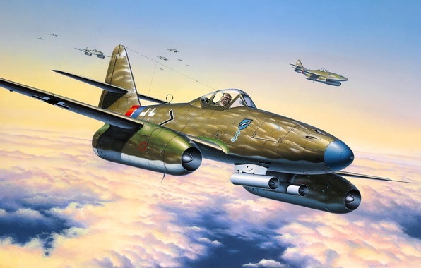 Picture the sky, figure, art, The second world war, German, Me 262, A-1a, jet fighters