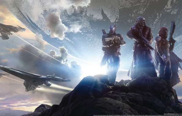 Picture mountains, clouds, stones, weapons, planet, armor, warriors, GameWallpapers, Bungie, fighters, spaceships, hats, Activision, Destiny