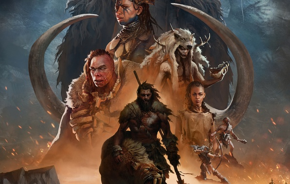 Picture look, figure, bow, tattoo, bones, fur, male, spear, beast, arrows, scar, mammoth, tusks, Far Cry …