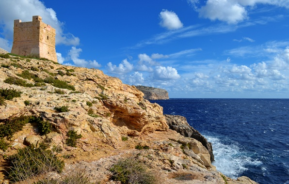 Picture sea, the sky, clouds, rocks, tower, fortress, Malta