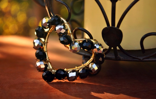 Picture table, heart, shadow, beads, heart, black, bokeh, silver