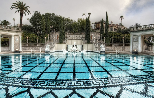Picture water, palm trees, pattern, tile, pool, day, ladder, statues, cypress