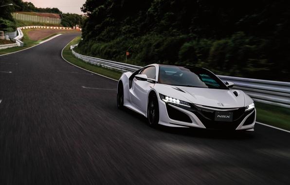 Picture supercar, white, Honda, supercar, car, road, Honda, the front, NSX