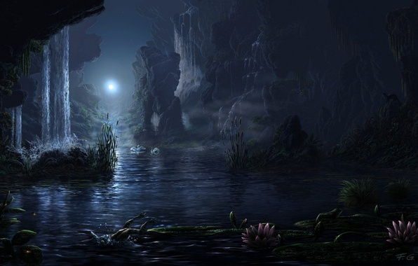 Picture landscape, night, lake, the moon, waterfall, Fel-X