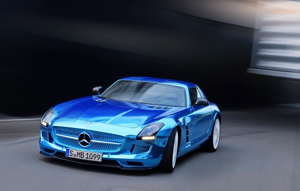 Picture Mercedes-Benz, Auto, Blue, Lights, AMG, Coupe, SLS, Chrome, The front, Sports car, Electric Driv