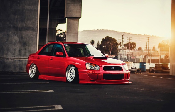 Picture Subaru, Impreza, WRX, Red, Car, STI, Front, Sun, Color, Stance, Low