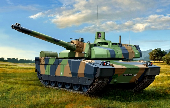 Picture art, artist, tank, armor, polygon, guns, exercises, caliber, MBT, French, 62 mm, 120 mm, 7 …