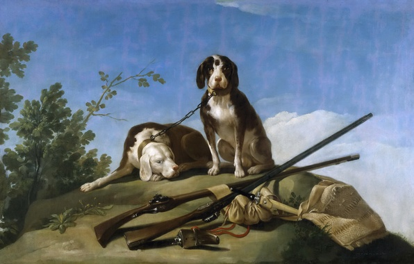 Picture picture, hunting, the gun, Francisco Goya, Dogs on Leash