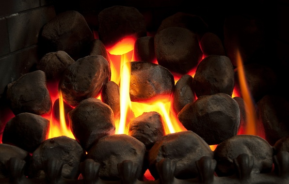 Picture comfort, stones, heat, fire, fireplace