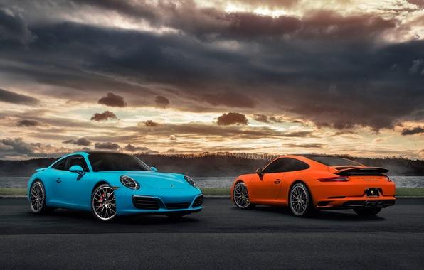 Picture 911, Porsche, Orange, Blue, Front, Carrera, Supercars, Rear, 2017