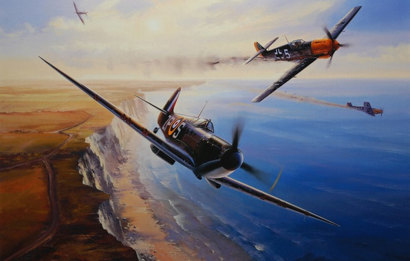 Picture aircraft, war, art, airplane, painting, aviation, drawing, ww2, dogfight, battle of britain, supermarine spifire, messerschmitt …