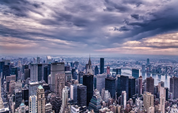 Picture the sky, clouds, the city, building, home, New York, skyscrapers, the evening, panorama, USA, USA, …