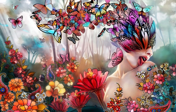 Picture language, girl, butterfly, flowers, collage, art