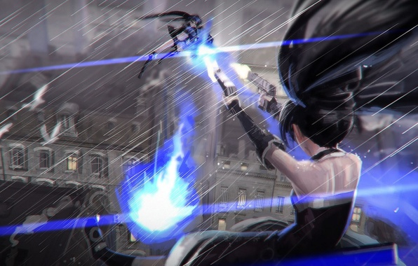 Picture the city, gun, weapons, girls, rain, home, anime, art, black rock shooter, catch the worm, …