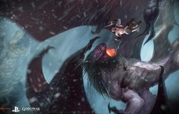 Picture snow, monster, drop, male, battle, God of War, Ascension