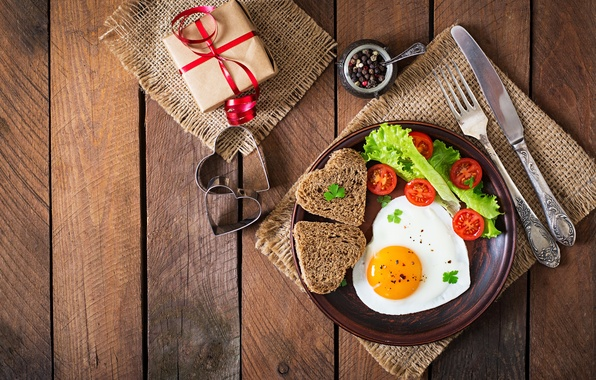 Picture gift, romance, heart, Board, egg, Breakfast, bread, plug, scrambled eggs, tomatoes, gift, salad, spices, bread, …