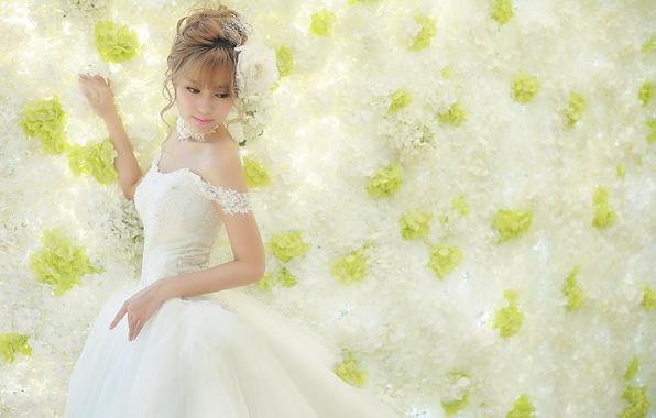 Picture girl, face, style, background, dress, Asian
