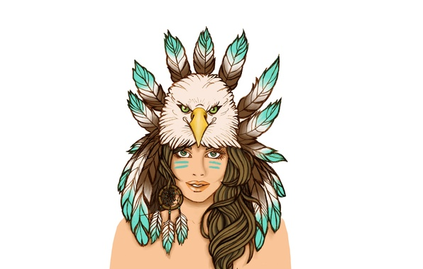 Picture girl, bird, feathers, Indian, indian, Dreamcatcher, Dreamcatcher, Indian