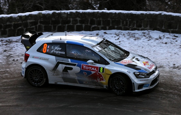 Picture Winter, Auto, White, Snow, Sport, Volkswagen, Machine, Red Bull, WRC, Rally, Rally, Side view, Polo, ...
