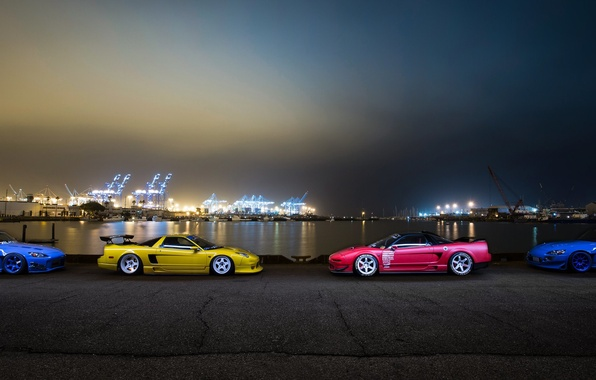 Picture car, night, tuning, honda nsx, s2000