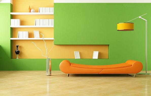 Picture orange, design, style, room, sofa, lamp, interior, minimalism, vases