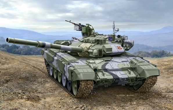 Picture art, artist, tank, Russia, polygon, guns, exercises, weapons, Russian, NSVT, caliber, MBT, or, 125 mm, …