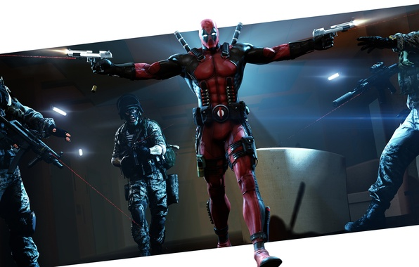 Picture guns, mask, hero, costume, soldiers, villain, mercenary, machines, deadpool, marvel comics, wade wilson