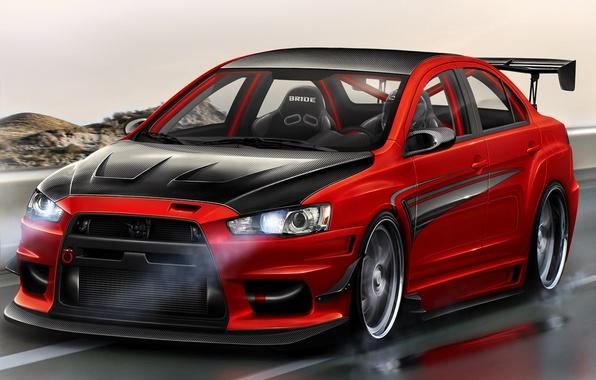 Picture red, tuning, Mitsubishi, red, tuning, lancer, evolution, Lancer, evo x