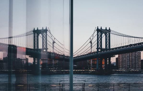 Picture bridge, the city, reflection, window, USA, New York