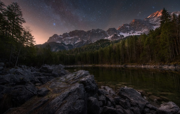 Picture forest, the sky, stars, mountains, night, lake, stones, rocks, morning