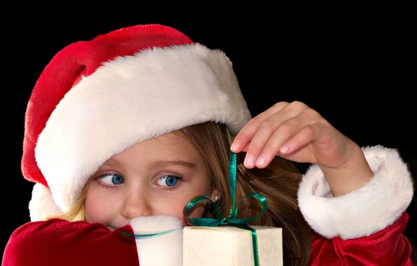 Picture eyes, look, red, children, background, holiday, gift, Wallpaper, hat, new year, blue, girl, christmas, new …