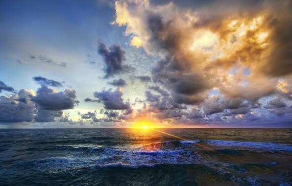 Picture sea, wave, the sky, clouds, rays, light, sunset, nature, photo, dawn, HDR, horizon