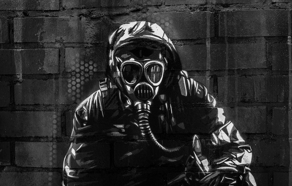 Picture surface, wall, graffiti, texture, mask, machine, gas mask, graffiti, Stalker, military, equipment, brick, survivors, wallpaper., …