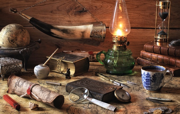Picture watch, books, lamp, map, Cup, still life, magnifier, globe, horn
