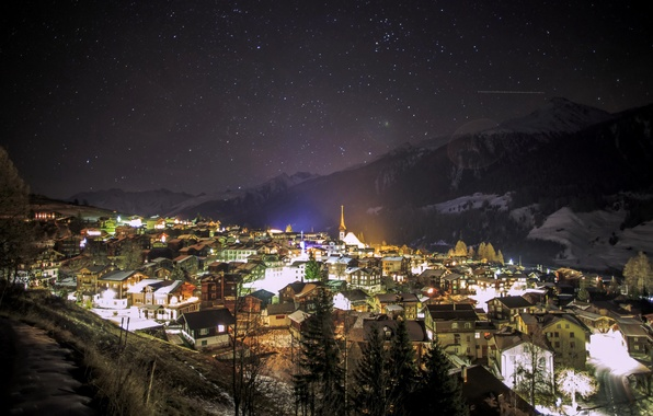 Picture winter, the sky, stars, snow, mountains, night, the city, lights, Germany, Munster