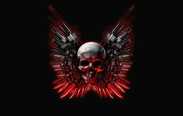 Picture weapons, skull, The Expendables