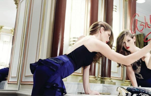 Picture girl, reflection, model, actress, mirror, lipstick, Ashley Greene, Ashley Greene