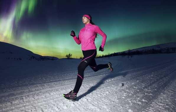 Photo wallpaper winter, girl, nature, sport, the evening, running, pink dress, ASICS dark pic