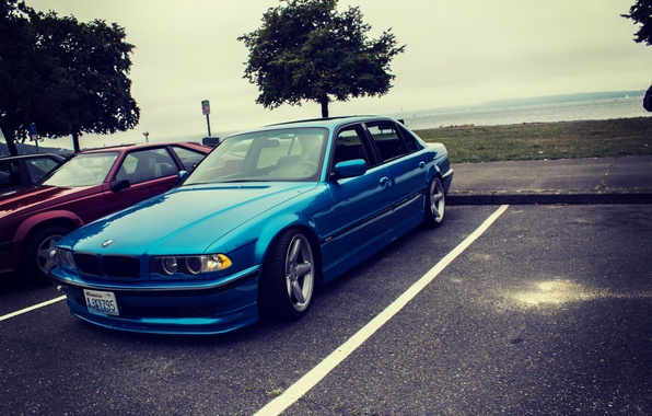 Picture tuning, bmw, BMW, blue, e38, 750il