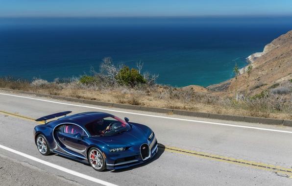 Picture road, sea, car, auto, Bugatti, road, sea, Chiron