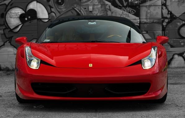 Picture red, reflection, red, ferrari, Ferrari, Italy, the front, 458 italia, headlights