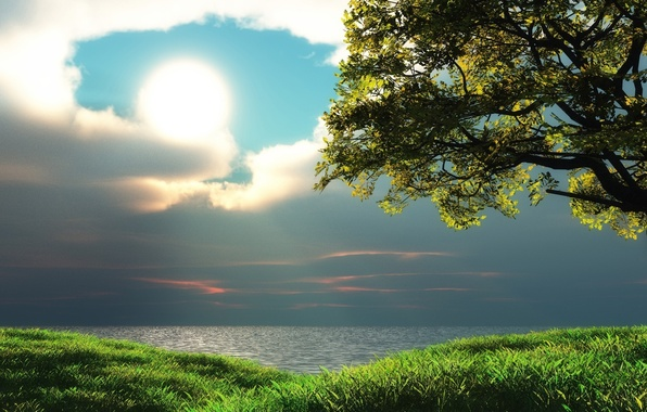 Picture the sky, clouds, trees, lake, sun. grass